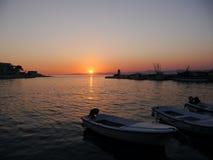 Puesta del sol en Croatia Fotos de archivo libres de regalías