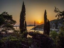 Puesta del sol en Croatia El mar adriático Imágenes de archivo libres de regalías