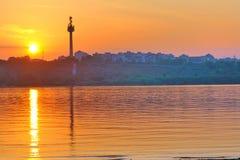 Puesta del sol en Danubio Fotografía de archivo