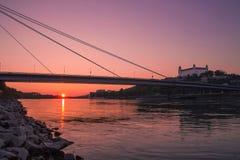 Puesta del sol en Danubio/Bratislava Fotografía de archivo libre de regalías