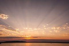 Puesta del sol en Des Moines Imágenes de archivo libres de regalías