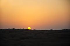 Puesta del sol en desierto Fotos de archivo libres de regalías