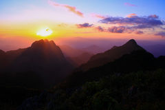 Puesta del sol en Doi Chiang Dow Imagen de archivo libre de regalías