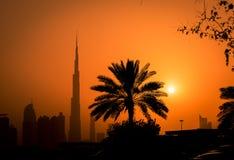 Puesta del sol en Dubai Imágenes de archivo libres de regalías
