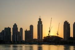 Puesta del sol en Dubai Foto de archivo libre de regalías