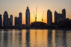 Puesta del sol en Dubai Imagenes de archivo