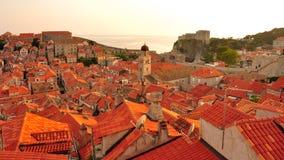 Puesta del sol en Dubrovnik, Croatia Fotos de archivo