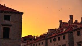 Puesta del sol en Dubrovnik, Croatia Imagen de archivo