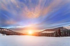 Puesta del sol en el alto Tatras, polaco Imagen de archivo