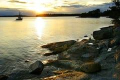Puesta del sol en el archipiélago Imagen de archivo libre de regalías