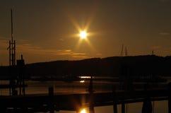 Puesta del sol en el archipiélago sueco Imágenes de archivo libres de regalías