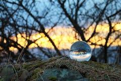 Puesta del sol en el bal del cristal Fotografía de archivo libre de regalías