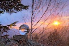 Puesta del sol en el bal del cristal Imagenes de archivo