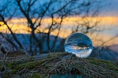 Puesta del sol en el bal del cristal Imagen de archivo
