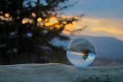 Puesta del sol en el bal del cristal Foto de archivo libre de regalías