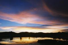 Puesta del sol en el bonito Fotografía de archivo libre de regalías