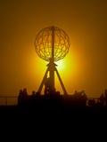 Puesta del sol en el cabo del norte Foto de archivo