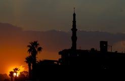 Puesta del sol en El Cairo fotografía de archivo