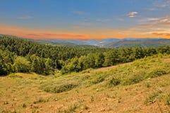 Puesta del sol en el camino a Santiago en Navarra Fotografía de archivo
