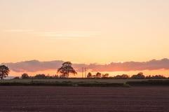 Puesta del sol en el campo británico Fotografía de archivo libre de regalías