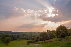 Puesta del sol en el campo del Reino Unido Fotografía de archivo libre de regalías