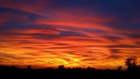Puesta del sol en el campo, Milano, Italia Fotografía de archivo libre de regalías