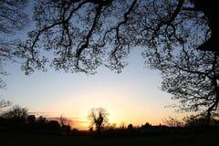 Puesta del sol en el campo - Yorkshire - Inglaterra Imágenes de archivo libres de regalías