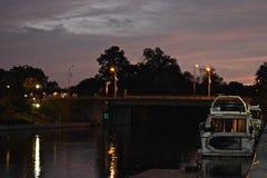 Puesta del sol en el canal Erie Fotos de archivo libres de regalías