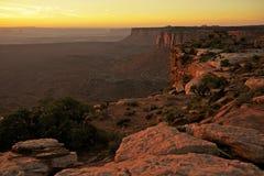 Puesta del sol en el Canyonlands Foto de archivo