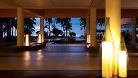 Puesta del sol en el centro turístico de Sheraton en Fiji Imágenes de archivo libres de regalías