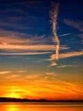 Puesta del sol en el chiemsee 22 del lago Imagenes de archivo