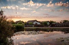 Puesta del sol en el delta de Danubio fotos de archivo libres de regalías