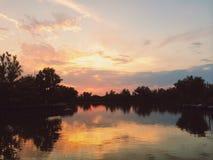 Puesta del sol en el delta de Danubio Imagen de archivo