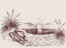 Puesta del sol en el dibujo de la playa Fotos de archivo