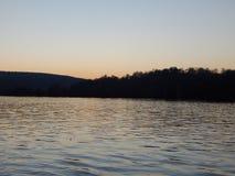 Puesta del sol en el Donau Fotos de archivo libres de regalías