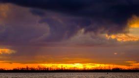 Puesta del sol en el Elba Fotografía de archivo