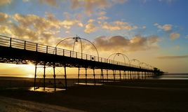 Puesta del sol en el embarcadero Imagen de archivo libre de regalías