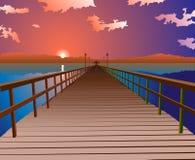 Puesta del sol en el embarcadero ilustración del vector