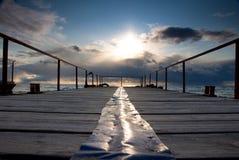 Puesta del sol en el embarcadero Imagen de archivo