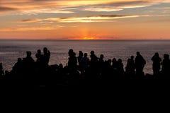 Puesta del sol en el extremo de las tierras Fotos de archivo libres de regalías