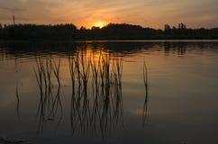 Puesta del sol en el Forest Park Beijing China olímpico imagenes de archivo