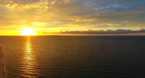 Puesta del sol en el fuerte Morgan fotografía de archivo libre de regalías