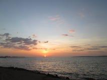 Puesta del sol en el golfo fotos de archivo