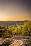 Puesta del sol en el jardín botánico - Goteburgo, Suecia fotos de archivo