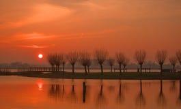 Puesta del sol en el Krabbenplas Imagenes de archivo