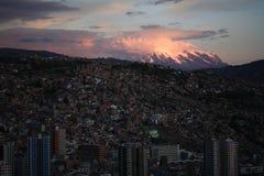 Puesta del sol en el La Paz fotografía de archivo