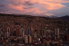 Puesta del sol en el La Paz Fotografía de archivo libre de regalías