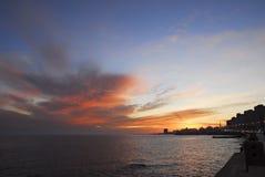 Puesta del sol en el La Rambla, Montevideo Fotografía de archivo libre de regalías