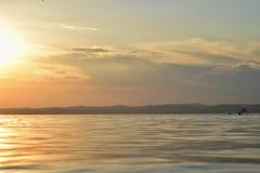Puesta del sol en el lago Balaton Imágenes de archivo libres de regalías