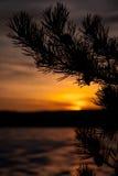 Puesta del sol en el lago del hielo Imagenes de archivo